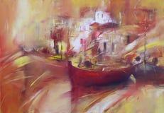 小船,现代手工制造绘画 免版税库存图片