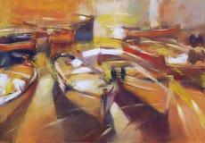 小船,现代手工制造绘画 免版税图库摄影
