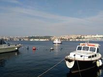 小船, goldenhorn,土耳其,伊斯坦布尔 免版税库存照片