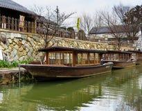 小船, Hachiman博里, OmiHachiman,日本 图库摄影