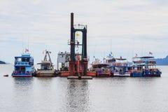小船朴蒙山码头, Trang,泰国 免版税图库摄影