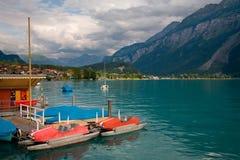 小船brienz湖脚蹬瑞士 免版税图库摄影