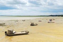 小船cancale捕鱼法国 库存图片