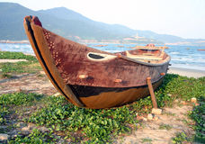 小船danang捕鱼越南 免版税库存照片