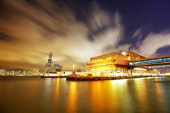 小船harbot香港nightscene  免版税库存图片