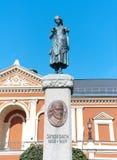小船klaipeda立陶宛meridianas多数一个可认识的s航行符号 纪念碑喷泉西蒙达赫 库存照片