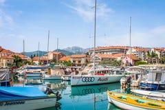 小船montenegro 库存照片