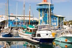 小船mooloolaba码头 库存图片