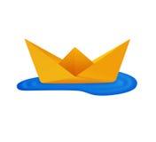 小船origami纸张 图库摄影