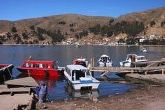 小船titicaca 图库摄影
