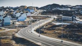 小色的房子 努克,格陵兰 2014年5月 免版税库存照片