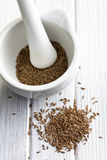 小茴香籽和陶瓷灰浆 免版税库存图片