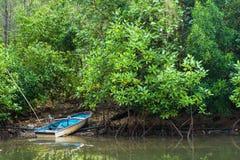 小蓝色小船在一条小运河停放了在美洲红树前面 免版税库存图片