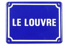 小蓝色陶瓷'Le Louvre'标志 免版税库存照片