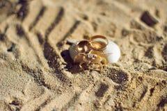 小螃蟹和定婚戒指在海滩 免版税库存图片