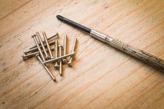 小螺丝刀和金属坚果 库存照片