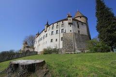 小行政区城堡老oron瑞士vaud 图库摄影