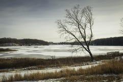 小行政区的俄亥俄冻湖 库存图片