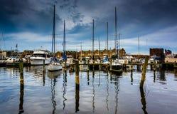 小行政区的小游艇船坞,巴尔的摩,马里兰 库存照片