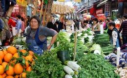 小行政区香港市场室外路 库存照片