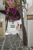 小街米科诺斯岛希腊 免版税库存图片