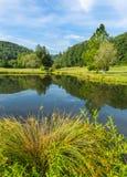 小谷仓和树框架夏天池塘 图库摄影