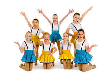 小辈女孩爵士乐舞蹈小组 库存照片