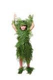 小逗人喜爱的女孩佩带的叶子衣裳 免版税图库摄影