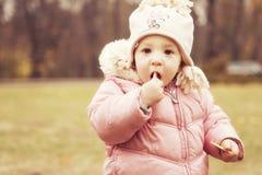 小逗人喜爱的女孩孩子获得乐趣在秋天温暖的衣裳& x28的公园; 图库摄影