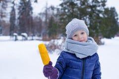 小逗人喜爱的女孩画象冬天公园的 库存图片