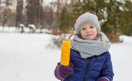 小逗人喜爱的女孩画象冬天公园的 免版税库存图片