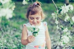 小逗人喜爱的被弄乱的女孩画象笑和获得乐趣户外在开花的树中在一个晴朗的夏日 免版税库存照片