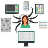 小配件、书和报纸围拢的少妇 计算机,智能手机,片剂,膝上型计算机和递他们到妇女s头