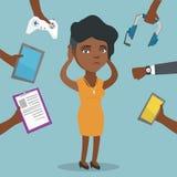 小配件围拢的年轻非裔美国人的妇女 向量例证