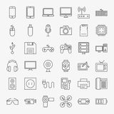 小配件和设备线艺术设计象大集合 免版税库存照片