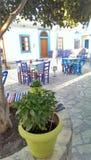 小酒馆在Skala村庄, Lipsi海岛 免版税库存图片