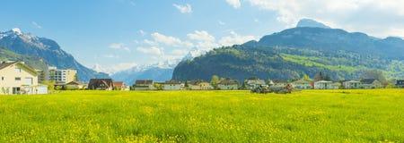 小镇在欧洲 Brunnen 瑞士 免版税库存照片
