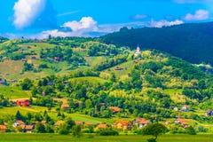 小镇普雷格拉达在克罗地亚, Zagorje地区 免版税库存图片