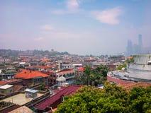小镇都市风景视图在城市 免版税库存照片