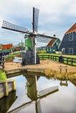小风车Zaanse Schans村庄荷兰荷兰 图库摄影