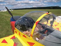 小飞机的驾驶舱 图库摄影
