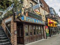 小餐馆àJojo, Montreal's蓝色机关 库存照片
