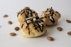 小饼用巧克力和杏仁 库存照片