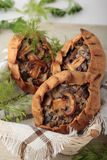 小馅饼做了†‹â€ ‹黑麦面粉充塞用蘑菇和oni 库存照片