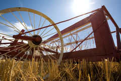 Old wheat harvester 免版税库存照片
