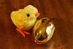 小黄色婴孩小鸡用在木表上的一个金黄复活节彩蛋 图库摄影