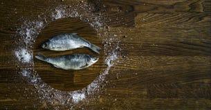 小黑褐色圆盘木背景盘旋盘海盐胡椒调味料香菜倾吐的蒸汽干被盐溶的两条鱼 库存图片