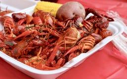 小龙虾、玉米和土豆晚餐 图库摄影