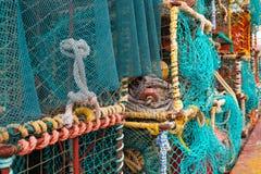 小龙虾和龙虾笼子特写镜头在港口的 库存照片