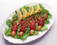 小龙虾柠檬俄语 免版税库存照片